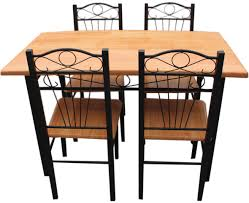 metal and wood dining table. New Kitchen Dining Set With Table Chairs Metal Frame Wood And