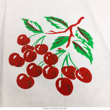 Retro Cherry Kitchen Decor Cherry Flour Sack Tea Towel Vintage 50s Kitchen Towels