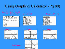 4 using graphing calculator pg 88 enter y1 21 06 3x 2 8 y2 5 3 2x 1 2 press zoom 6 then press 2 nd calc enter enter enter final graph