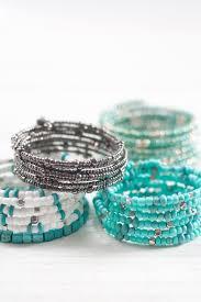 diy beaded coil bracelets