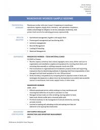 General Warehouse Worker Resume Final List Of Skills Production