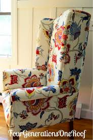 fabric needed for dining room chairs. diy reupholstered dining room wingback chair the fabric is samoen plantation, gem by iman. needed for chairs
