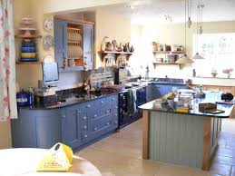 blue kitchen designs. Kitchen Design, Mesmerizing Blue Kitchens Cabinet And Island With Kitchenware In Traditional Style Also Appliances Beige Tile Flooring: Designs