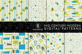 Mid Century Modern Resume Template 8 Seamless Mid Century Modern Patterns Set 1