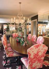 oval wood table design with kitchen chairs using pink patterned vinyl fabric ideas