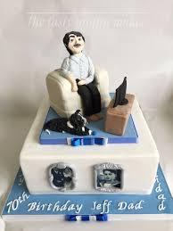 Cake Designs For Mens 70th Birthday 70th Birthday Cake Male Watching T V 70th Birthday Cake