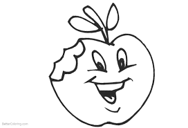 Cute Food Apple Coloring Pages Free Printable Coloring Pages