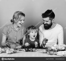 Joyful Family And Celebration Concept Man With Beard Woman And Son