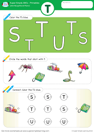 To complete this phonics worksheet children need to circle the pictures in each row that have that word ending. Letter Recognition Phonics Worksheet T Uppercase Super Simple Phonics Worksheets Phonics Letter Recognition