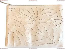 fashion banana republic lasercut leaf large zip pouch blush leather clutch 00nyizxr