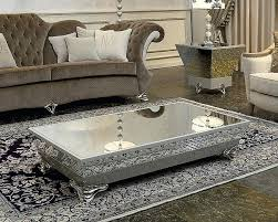 luxury coffee table rectangle modern low with silver metal base and glass top bowl sets