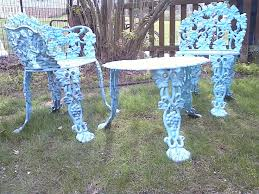 spray painted vintage cast iron furniture aqua