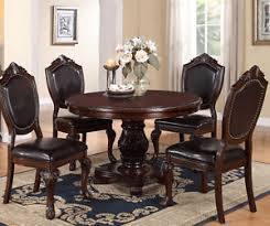 round pedestal dining table and chairs. image is loading new-5pc-strasbourg-dark-cherry-finish-wood-round- round pedestal dining table and chairs l