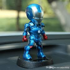marvel avengers 5 inch iron man solar powered bobble head action relaxation toy for car home office shake head toy 12cm best interior design car best