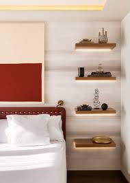 Floating Shelves As Bedside Table Bedroom Design Idea Replace A Bedside Table And Lamp With 2