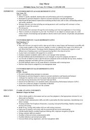 Customer Service Sales Representative Resume Samples Velvet Jobs