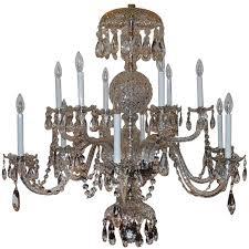 elegant twelve light large georgian cut crystal chandelier swag two tier fixture for