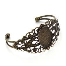 1 pcs bracelet bangle 25 18mm oval blanks trays bezel antique bronze brass jewelry cabochon