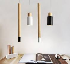Pendant Lights Wooden Dining Light Modern Hanging Lamp White Black