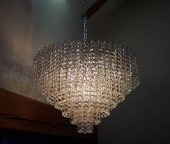 cur stock this item is now sold large and very impressive chandelier consisting of multiple 15cm long vintage clear glass drops which date from the