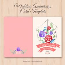 Template Anniversary Card Wedding Anniversary Card With Watercolor Flowers Vector