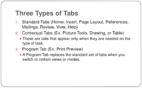 type of tab lesson 5 ms office word 2007