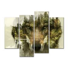 4 pieces modern canvas painting wolf pine trees forest water wolf animal painting wall art the picture for home decoration in painting calligraphy from  on wood pine tree wall art with 4 pieces modern canvas painting wolf pine trees forest water wolf