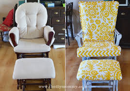 update nursery glider rocking chair the diy mommy upholstered gilder wood runners unfinished dresser dining cushions