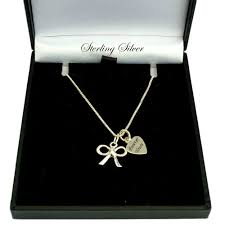 sterling silver necklace with bow pendant and engraving charming engraving