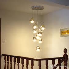 10 led lamps staircase gold long pendant lamp living room dining room modern hanging light villa glass magic ball pendant lights ship chandelier cage