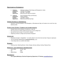 Resume Hobbies That Includesnd Interests Curriculum Vitae Examples