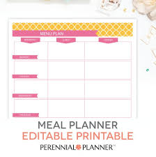 Sample Breakfast Menu Template Stunning Menu Plan Weekly Meal Planning Template Printable EDITABLE Etsy