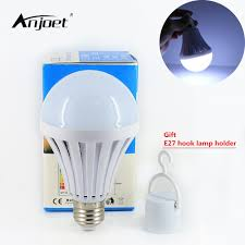 anjoet 110v 220v led smart bulb e27 5w 7w 9w 12w led emergency light rechargeable battery lighting lamp for home indoor lighting in emergency lights from