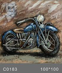 3d wall art motorcycle oil painting