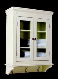 furniture white wooden floating bathroom cabinet with double glass doors and three stainless steel cloth