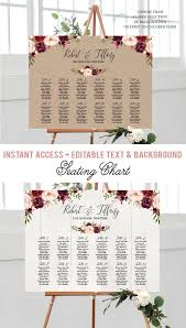 Burgundy Floral Wedding Seating Chart Template Marsala