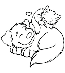 Dog And Cat Coloring Pages Printable Ourwayofpassioncom