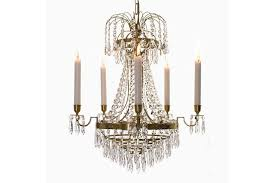 empire crystal chandelier in amber coloured brass with bottom of crystal drops width 48cm