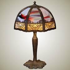 dramatic art nouveau 24 panel slag glass lamp stidwill s antiques ruby lane