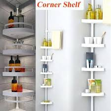 bathroom corner shelf 4 tier telescopic bathroom corner shelf rack shower storage bath accessory frosted glass