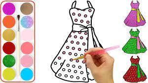 Vẽ và tô màu 5 Chiếc Váy Đầm, Dạy Bé Vẽ tranh và Tô Màu, Glitter