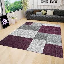living room rug modern rug with checd patterns short pile purple grey white colors r7778 ceres web