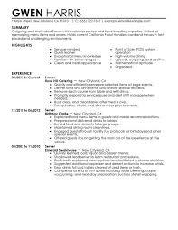 Waitress Skills For Resume Sample Resumes For Servers Resume Examples Server Restaurant From