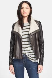 image of vince colorblock leather jacket