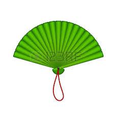hand fan clipart. green oriental fan vector hand clipart