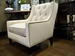 nailhead accent chair tufted gray blue office