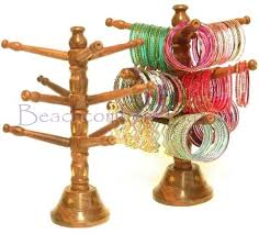Large Wooden Tree Display Stand Classy Wood Bracelet Tree Stand Bangle Display With Brass Inlay