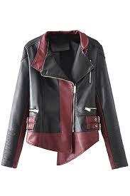 long sleeve zipper color block faux leather biker jacket ruby pink queen