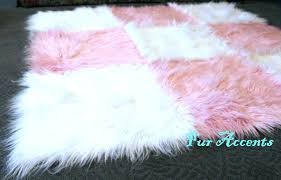 pink faux fur rug accents and white rectangle by baby pink faux fur rug