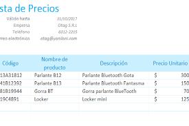 Formato De Lista De Precios Planillaexcel Descarga Plantillas De Excel Gratis